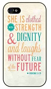 Super She is clothed in strenght and dignity, and she laughs without fear of the future - Proverbs 31:25 - Washed, Woman, girl - Bible verse IPHONE 5C plastic case / Christian Verses