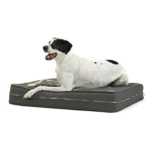 41VWlrCFMjL - eLuxurySupply Dog Bed - Red Charcoal | Orthopedic Gel Memory Foam - Made in the USA | Durable 100% Cotton Canvas Cover | Waterproof Encasement | Machine Washable | Small, Medium & Large Dogs