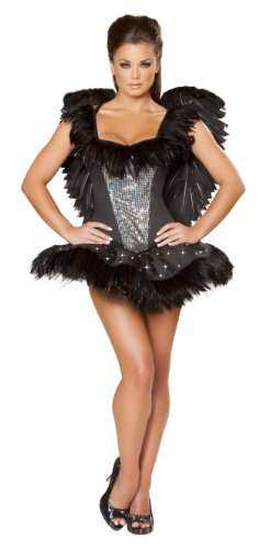 Roma Costume 2 Piece Sexy Swan Costume, Black, Small (Black Swan Ballerina Halloween Costume)