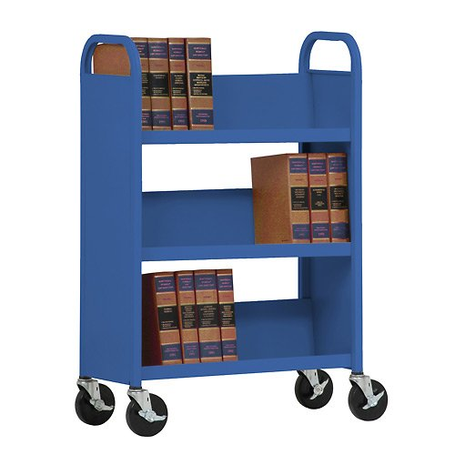 Sandusky Lee Welded Book Truck - 31X13x48'' - 3 Single-Sided Sloping Shelves - Blue - Blue by Sandusky