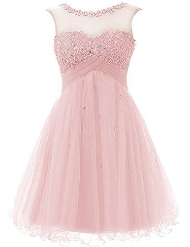 Cdress Tulle Courte Robes De Mariée Junior Paillettes De Bal Robes De Appliques Cocktail Rose