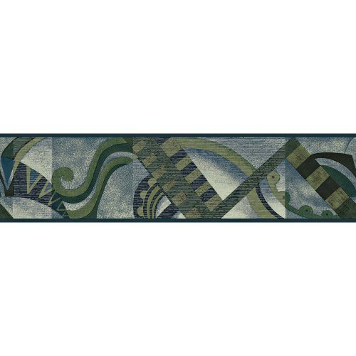Blue Mountain Geometric Wallpaper (Decorate By Color BC1581237 Geometric Scroll Border)