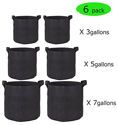 3 Gallon/5 Gallon/7 Gallon Grow Bags- 6 Pack Reusable and Durable Fabric Aeration Pots Container with Strap Handles, Perfect for Nursery Garden and Planting