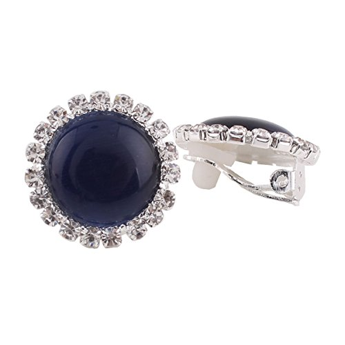 (Rhinestone Opal Round Clip on Earrings Without Piercing for Women Luxury Jewelry (navy blue))