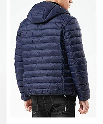 H Outerwear Down Mens amp;E Blue Dark Parkas Coat Warm Quilted Hoodie Jacket r5Ytrxnpq