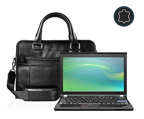 reboon Echt-Leder Laptop-Tasche in Schwarz Leder für Lenovo ThinkPad Refurbished 12 | 13 Zoll | Notebooktasche Umhängetasche | Damen/Herren - Unisex | Premium Qualität Schwarz Leder 6QCMToUE4k