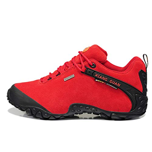 up Women's Waterproof XIANG top Shoes Red Lace Travelling GUAN Footwear Suede Trekking Ladies Outdoor Sneaker Low Hiking Breathable Walking 5qr08qw