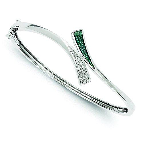 Bracelet Jonc en argent sterling diamant bleu et blanc brut