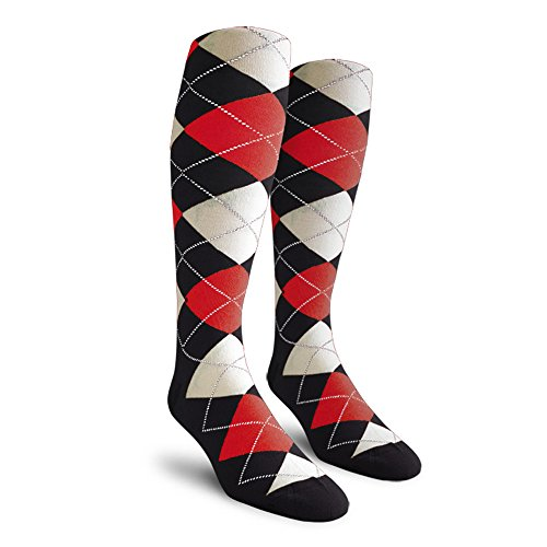 Argyle Golf Socks: Over-the-Calf - Black/Red/White - Mens