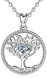 INFUSEU Sterling Silver Pendant Necklace Butterfly Cross Tree of Life Key Jewelry for Women Gifts, 18 Inch Cha