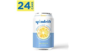 Spindrift Sparkling Water, Lemon Flavored, Made with Real Squeezed Fruit, 12 Fluid Ounce Cans, Pack of 24 (Only 3 Calories per Seltzer Water Can)