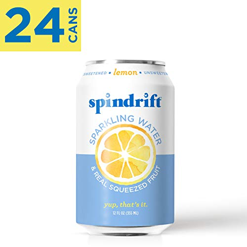 Spindrift Sparkling Water, Lemon Flavored, Made with Real Squeezed Fruit, 12 Fluid Ounce Cans, Pack of 24 (Only 3 Calories per Seltzer Water -