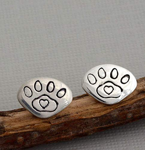 Tiny dog cat paw print earrings little small sterling silver post studs animal jewelry