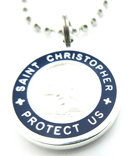 Get Back Supply Co Medium Saint Christopher Surf Medal Pendant Necklace White/Royal Blue WH/RB by Get Back Supply Co (Image #6)