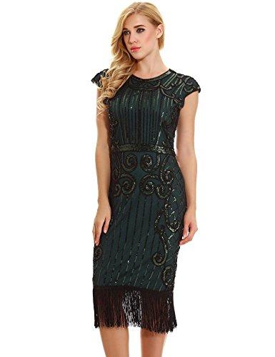 Long Embellished (1920s Vintage Inspired Flapper Dress - Sequin Embellished Fringe Long Great Gatsby Dress (dark green, L))