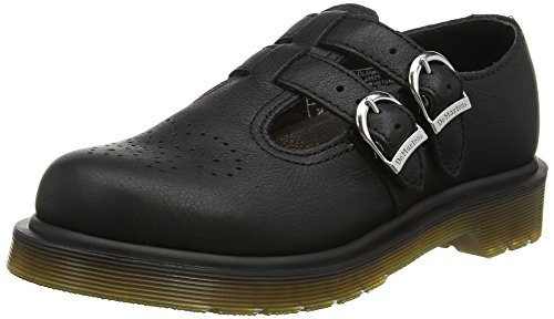 Dr. Martens Women's 8065 PW Mary Jane Virginia Leather Buckle Black-Black-6 (Virginia Leather)