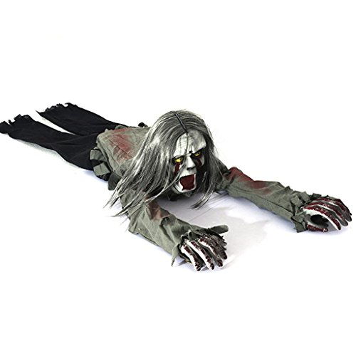 Flying fish Halloween creeping zombie props with hair horror skull bloody haunted house decoration with battery operated light control sensor