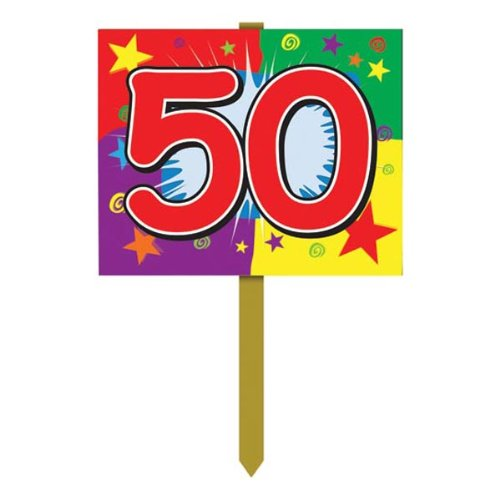 50 Birthday Yard Sign Party Accessory (1 count) (Sign Lawn Birthday Happy)
