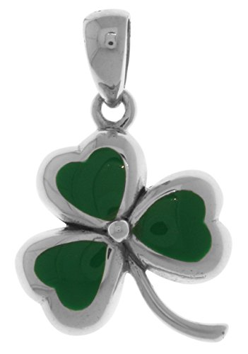 Jewelry Trends Sterling Silver Celtic Lucky Clover Shamrock Pendant with Green Leaves