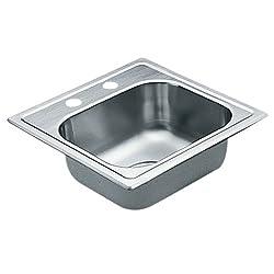 Moen 2200 Series 22 Gauge Single Bowl Drop In Sink, 15 x 15, Stainless Steel (G2245622)
