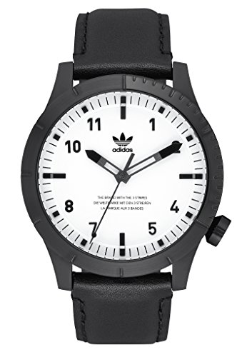 adidas Watches Cypher_LX1. Men's Premium Horween Leather Strap Watch, 22mm Width (Black/White. 42 mm). ()