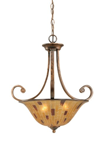 Toltec Lighting 254-BRZ-708 Curl Three-Light Uplight Chandelier Bronze Finish with Penshell Resin Shade, 16-Inch