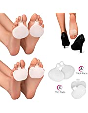 MediToes Orthotic Metatarsal Pads   4 Pairs Ball Of Foot Cushions For Active Men & Women   Silicone Gel Feet Support Pad For Morton's Neuroma, Plantar Fasciitis & Metatarsalgia Instant Pain Relief