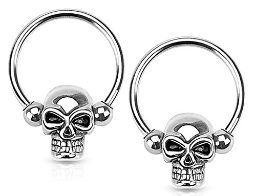 Forbidden Body Jewelry Set of 16G 12mm Surgical Steel Skull CBR Hoops for Ear Lobes/Cartilage/Nipples ()