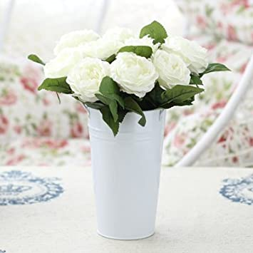 Amazon xhopos home artificial flowers mixed flower flower xhopos home artificial flowers mixed flower flower buckets bucket white rose real touch silk flowers home mightylinksfo