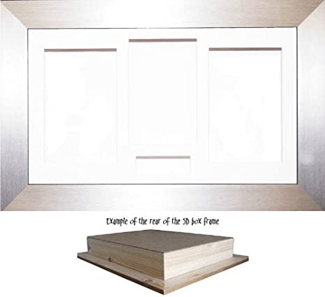 10x8 BRUSHED SILVER DEEP 3D SHADOW BOX,CASTS,FLOWERS,MEDALS,3D FRAMING 55mm
