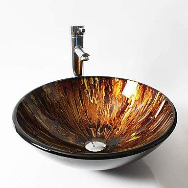 Glass Round Container Bathroom Sink, Retro Creative Art Tempered Glass Wash Basin Counter Basin