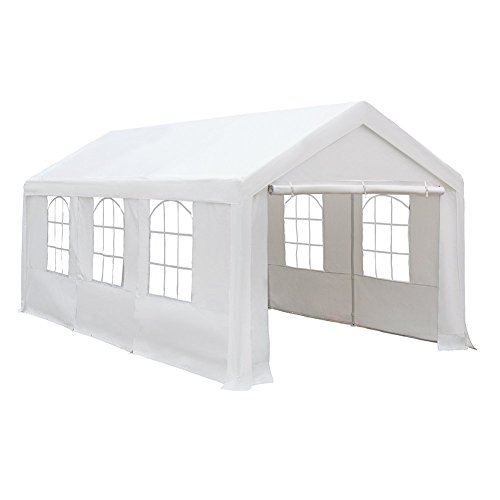 Cover Patio Attached (Abba Patio 10 x 20-Feet Heavy Duty Carport, Car Canopy Shelter with Windows and Sidewalls, White)