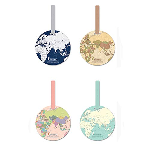 (Tough PVC Round Luggage Tags Suitcase Labels Bag Travel Accessories with Free Cup Mat, 4pcs)