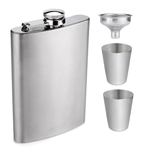 (AW 8oz Hip Flask Gift Set - Silver Pocket Flask for Liquor with Gift Box, Can be Engraved)
