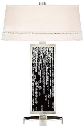 EuroLuxHome Table Lamp Cascades 1-Light Silver Leaf Hand-Cut Crystal Metal New 3-Way