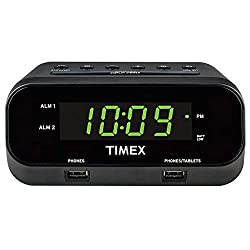 Timex T129B RediSet Dual Alarm Clock with Dual USB Charging and Extreme Battery Backup - Black (Renewed)