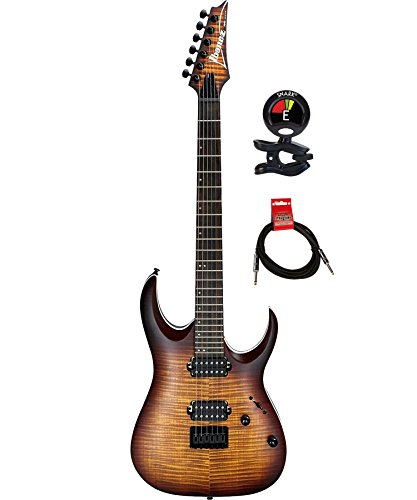 Ibanez RGA42FMDEF RGA Series 6 Strings Solid Body Electric Guitar Package with Clip on Guitar Tuner and Instrument Cable (Dragon Eye Burst Flat)