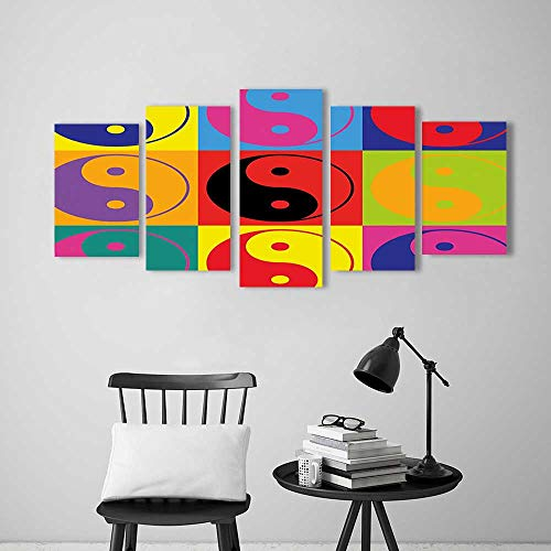 5 Piece Wall Art Painting Frameless Decor Pop Art Design Yin Yang Signs Hippie Style Eastern Asian Decorations Peace Posters Wall Decor Gift