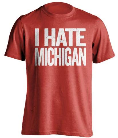 I Hate Michigan - Haters Gonna Hate Shirt - Red and White Versions - Text Design - Red - Medium