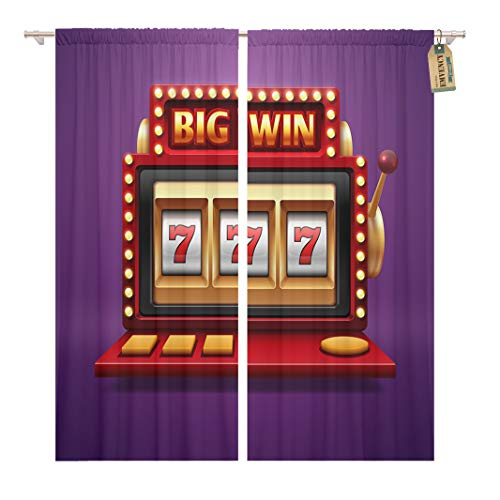Golee Window Curtain Jackpot Slot Casino Machine One Arm Bandit for Lucky Home Decor Rod Pocket Drapes 2 Panels Curtain 104 x 84 inches ()