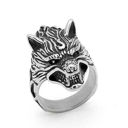 GuoShuang Men 316L stainless steel Nordic norse viking odin wolf amulet ring with gift bag