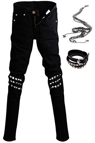 - Staringirl Mens Punk Hiphop Revits Pants Black Denim Jeans Pencil Trousers+Chain