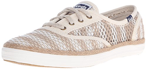 Keds Champion Stripe - Keds Women's Champion Crochet Fashion Sneaker,Natural/Cream Stripe,7 M US