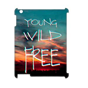 wugdiy New Fashion Cover 3D Case for iPad2,3,4 with custom Young, wild & free