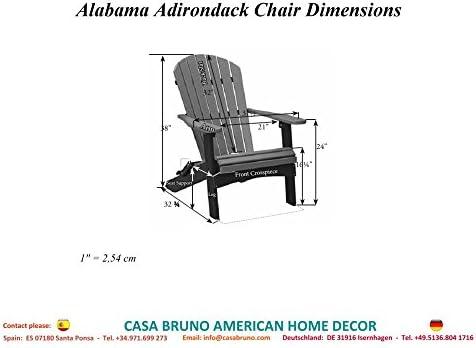 CASA BRUNO Original Alabama butaca Adirondack plegable, HDPE poly-madera, patina - garantizada resistencia a la intemperie