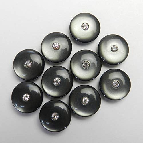 ラインストーン付き グレー系ボタン 15mm 裏足 ジャケット袖口 カーディガン 最適 10個入り R175B-15-GY-56