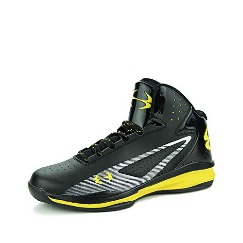 (Cdon Basketball Shoes Men High Top Sneakers Lightweight Shoes Running Sport Shoes(-Black-Yellow-Lable 44/10 D(M) US Men))