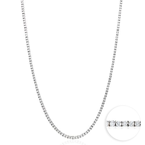 (7.50Ct Natural Diamond 14k White Gold 2.5mm Tennis Necklace 18