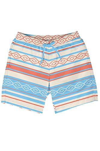 Tipsy Elves Men's Blue Palm Springs Swim Trunks - Striped Patterned Board Shorts for Guys (Springs Palm Trunks)