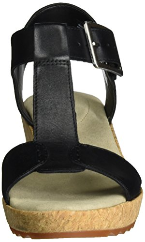 Negro Black con Cuña Kamara Leather Mujer para Sandalias Clarks Kiki tw0fq8